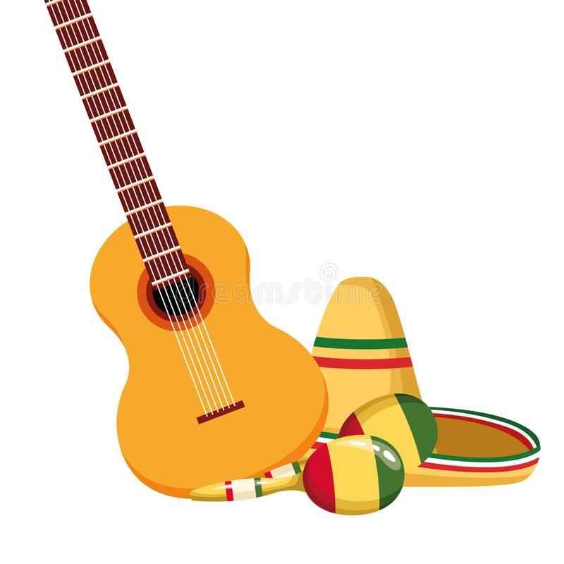 Mexican traditional culture icon cartoon. Mexican traditional culture with guitar, maracas and mexican hat icon cartoon vector illustration graphic design stock illustration