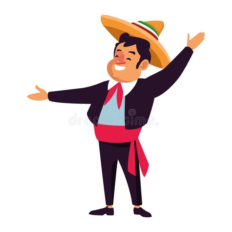Mexican traditional culture icon cartoon. Mexican traditional culture mariachis man with mexican hat and suit avatar cartoon character vector illustration stock illustration