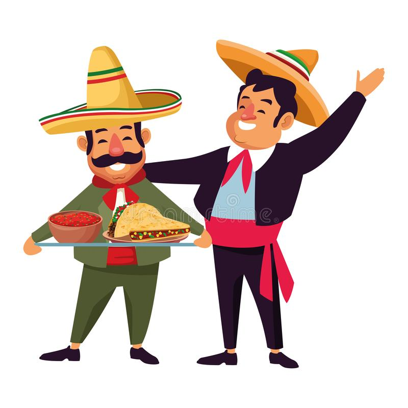 Mexican traditional culture icon cartoon. Mexican traditional culture mariachis with dancer woman with flower in her hair, man with moustache, mexican hat and royalty free illustration