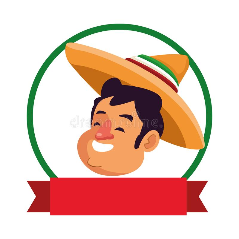 Mexican traditional culture icon cartoon. Mexican traditional culture mariachis man with mexican hat face profile picture avatar cartoon character portrait in vector illustration