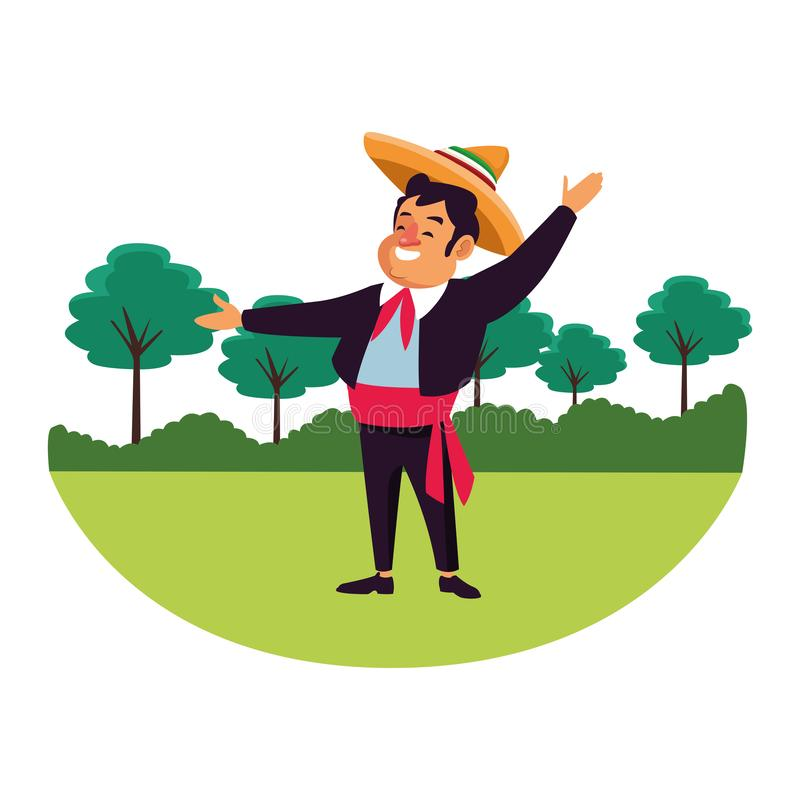 Mexican traditional culture icon cartoon. Mexican traditional culture mariachis man with mexican hat and suit avatar cartoon character over the grass with trees royalty free illustration