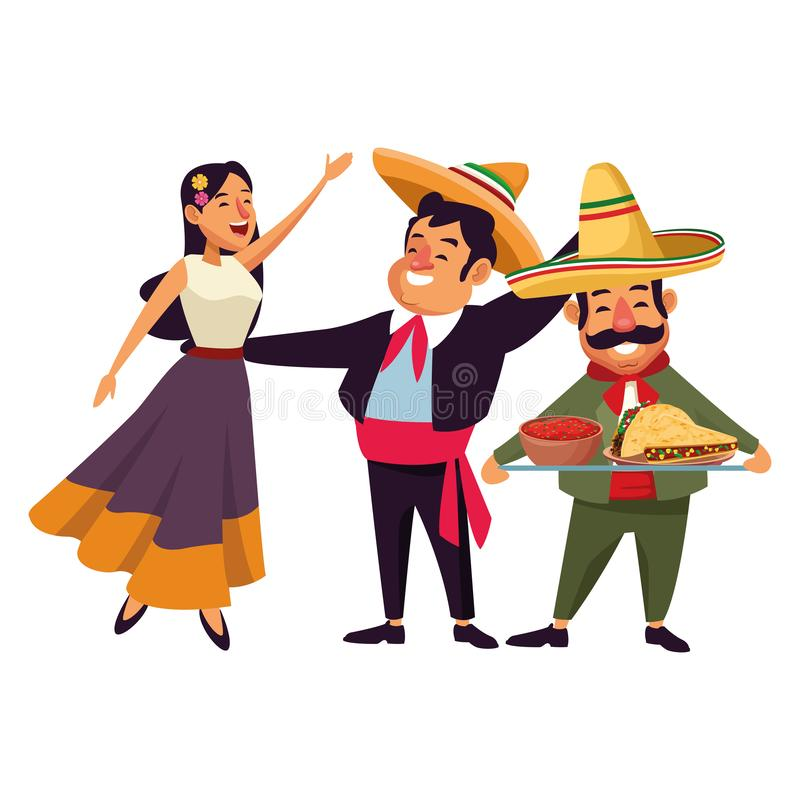 Mexican traditional culture icon cartoon. Mexican traditional culture mariachis man with mexican hat and suit, singer woman with flower in her hair and man with vector illustration