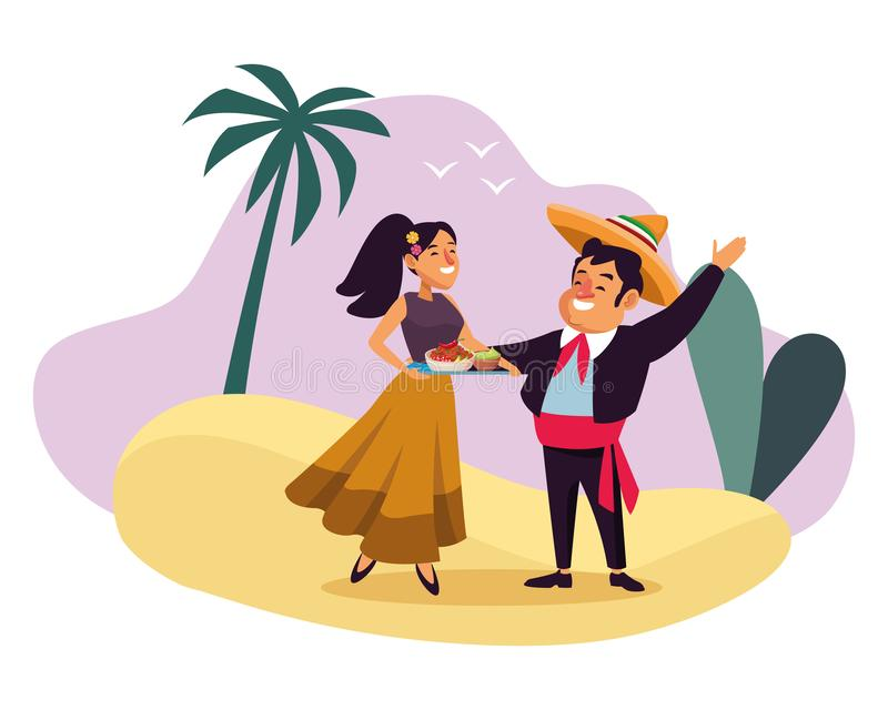 Mexican traditional culture icon cartoon. Mexican traditional culture mariachis man with mexican hat and suit and woman with flowers in her hair holding a tray stock illustration
