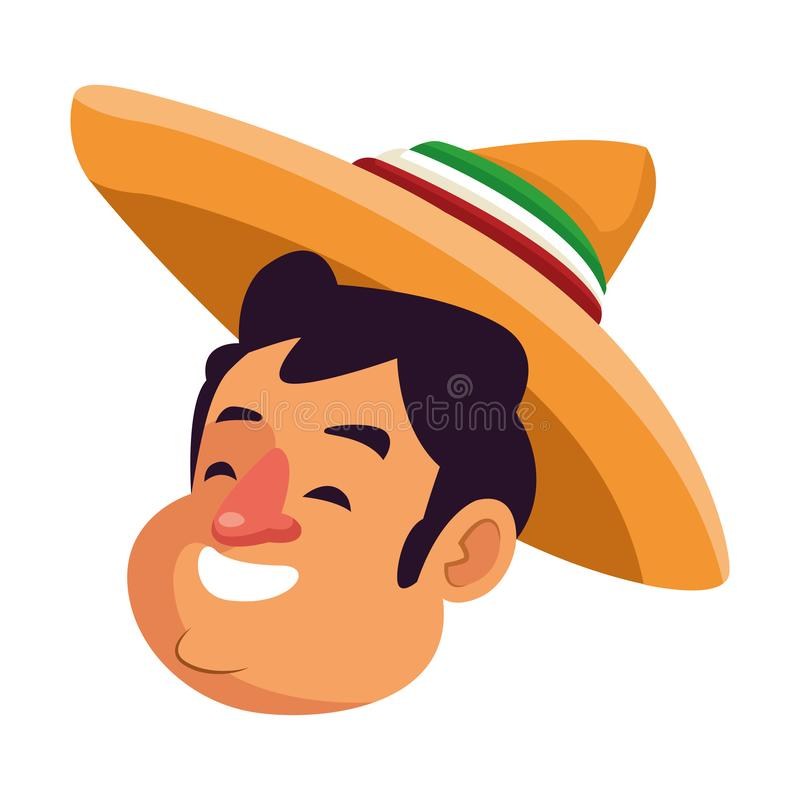 Mexican traditional culture icon cartoon. Mexican traditional culture mariachis man with mexican hat face profile picture avatar cartoon character portrait vector illustration
