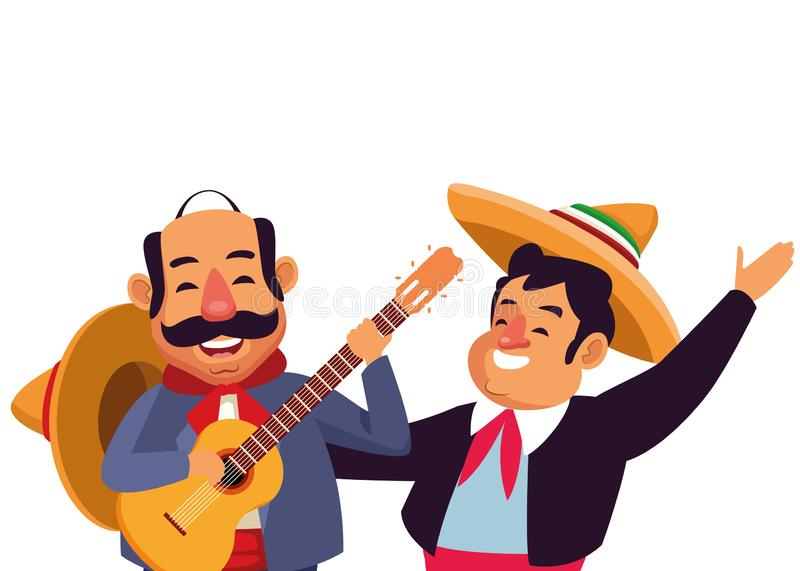 Mexican traditional culture icon cartoon. Mexican traditional culture mariachis man with mexican hat and suit and man with moustache, mexican hat and guitar vector illustration