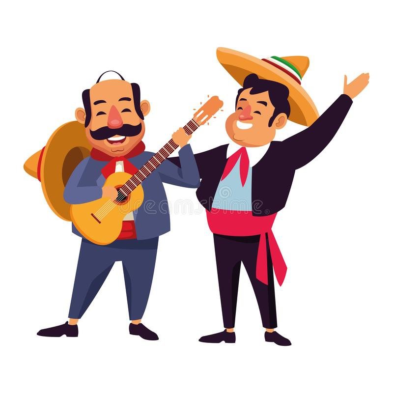 Mexican traditional culture icon cartoon. Mexican traditional culture mariachis man with mexican hat and suit and man with moustache, mexican hat and guitar stock illustration