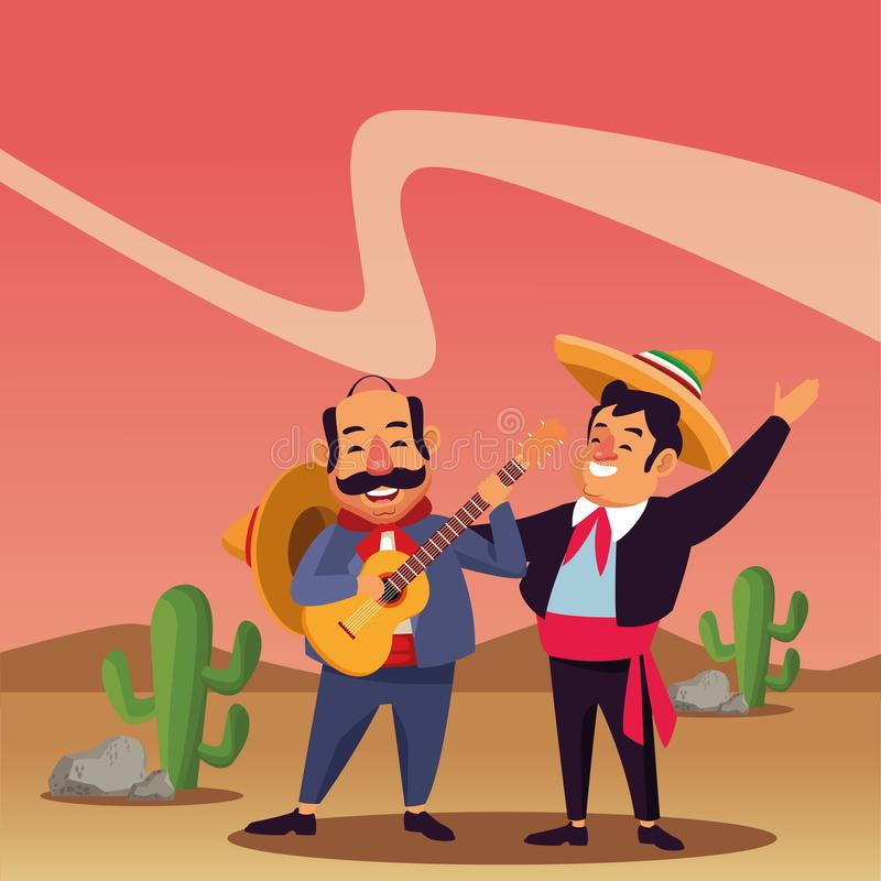Mexican traditional culture icon cartoon. Mexican traditional culture mariachis man with mexican hat and suit and man with moustache, mexican hat and guitar royalty free illustration