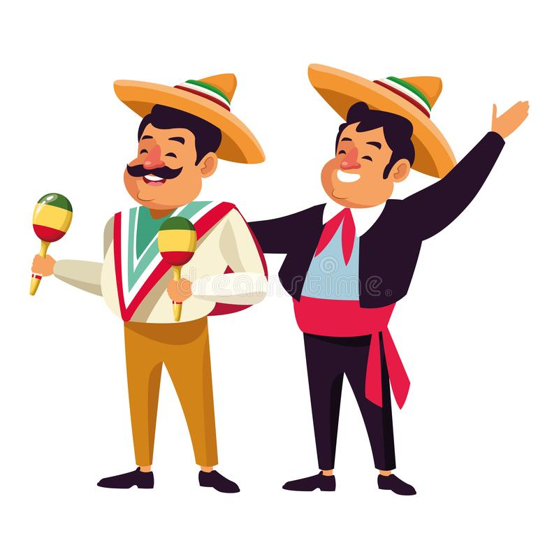Mexican traditional culture icon cartoon. Mexican traditional culture mariachis man with mexican hat and suit and man with moustache, mexican hat and maracas stock illustration
