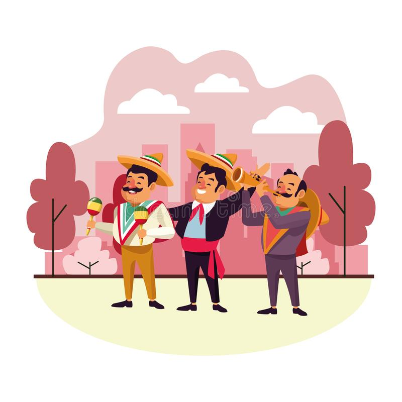 Mexican traditional culture icon cartoon. Mexican traditional culture mariachis man with mexican hat and suit, man with moustache, mexican hat and maracas and vector illustration