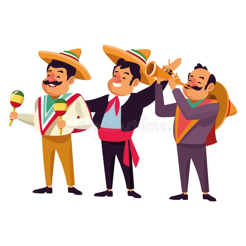 Mexican traditional culture icon cartoon. Mexican traditional culture mariachis man with mexican hat and suit, man with moustache, mexican hat and maracas and royalty free illustration