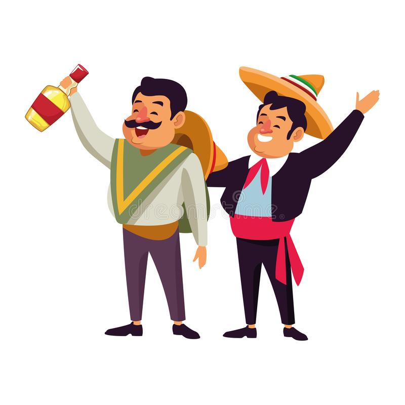 Mexican traditional culture icon cartoon. Mexican traditional culture mariachis man with mexican hat and suit and man with moustache, mexican hat and tequila stock illustration