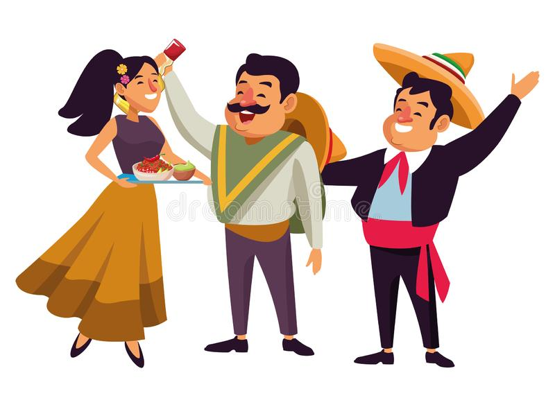 Mexican traditional culture icon cartoon. Mexican traditional culture mariachis man with mexican hat and suit, man with moustache, mexican hat and tequila bottle royalty free illustration