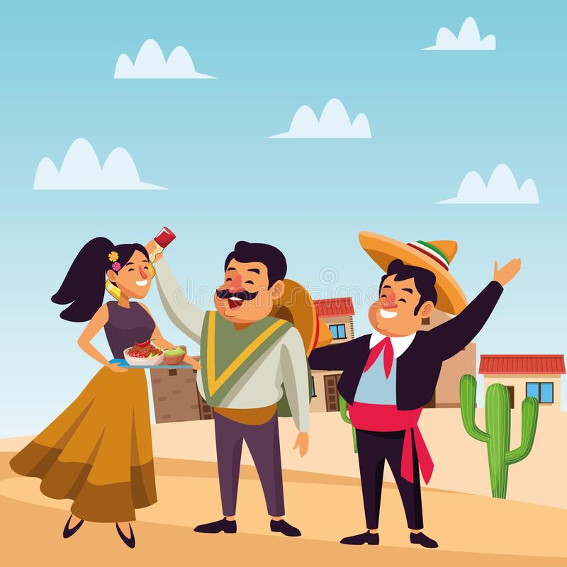 Mexican traditional culture icon cartoon. Mexican traditional culture mariachis man with mexican hat and suit, man with moustache, mexican hat and tequila bottle stock illustration