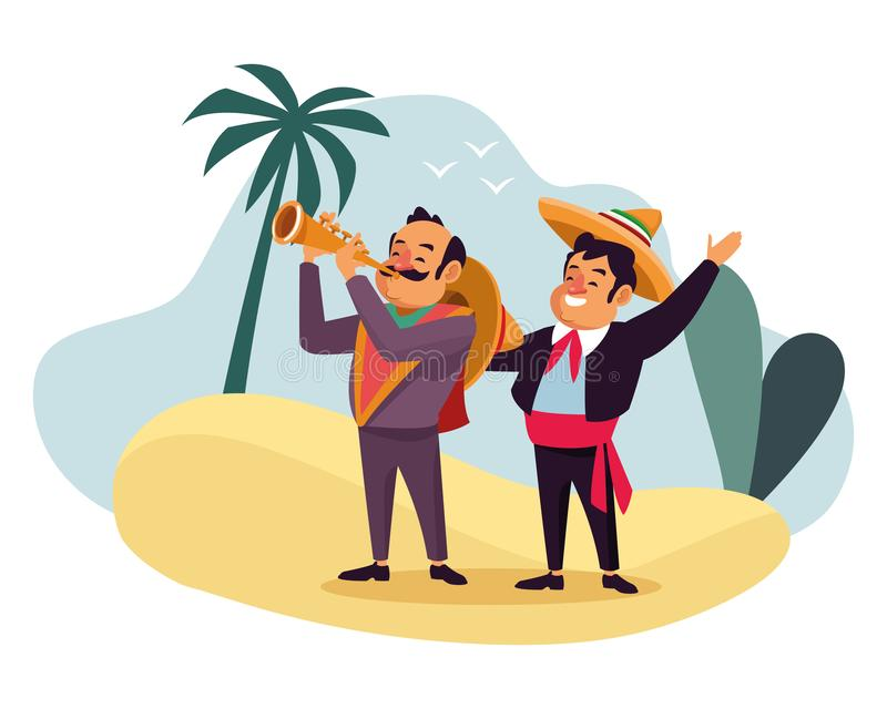 Mexican traditional culture icon cartoon. Mexican traditional culture mariachis man with mexican hat and suit and man with moustache, mexican hat and trumpet vector illustration