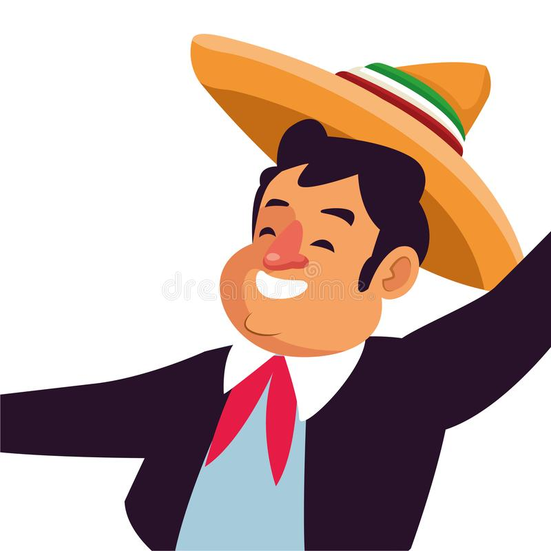 Mexican traditional culture icon cartoon. Mexican traditional culture mariachis man with mexican hat and suit profile picture avatar cartoon character portrait vector illustration