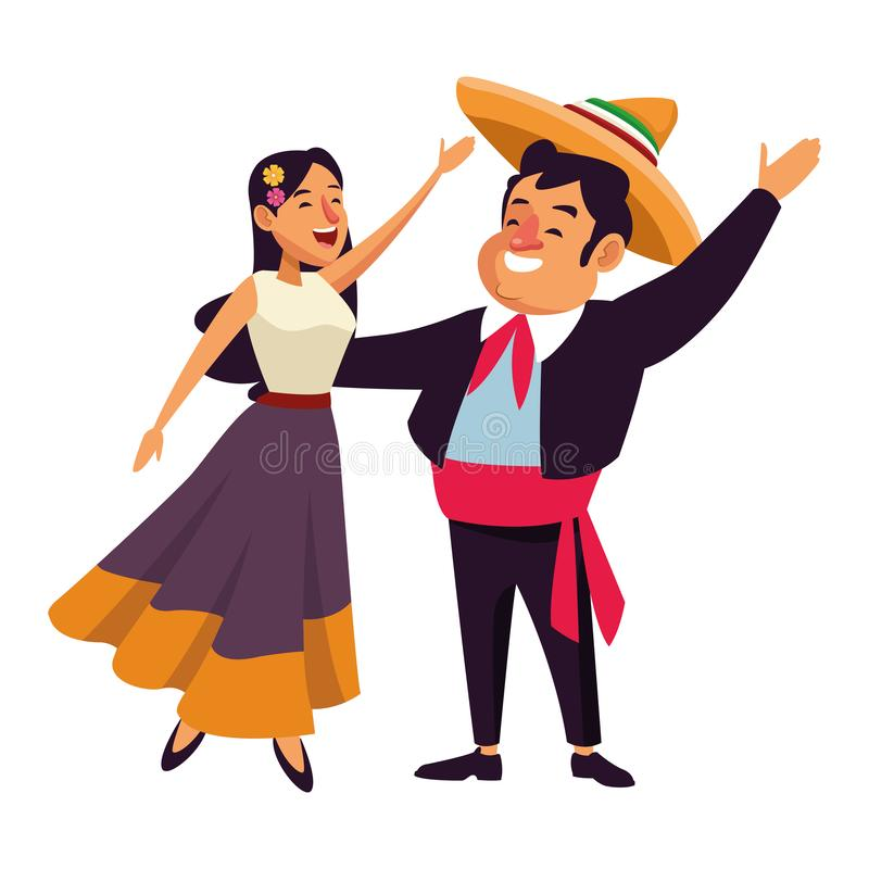 Mexican traditional culture icon cartoon. Mexican traditional culture mariachis man with mexican hat and suit and singer woman with flower in her hair avatar vector illustration
