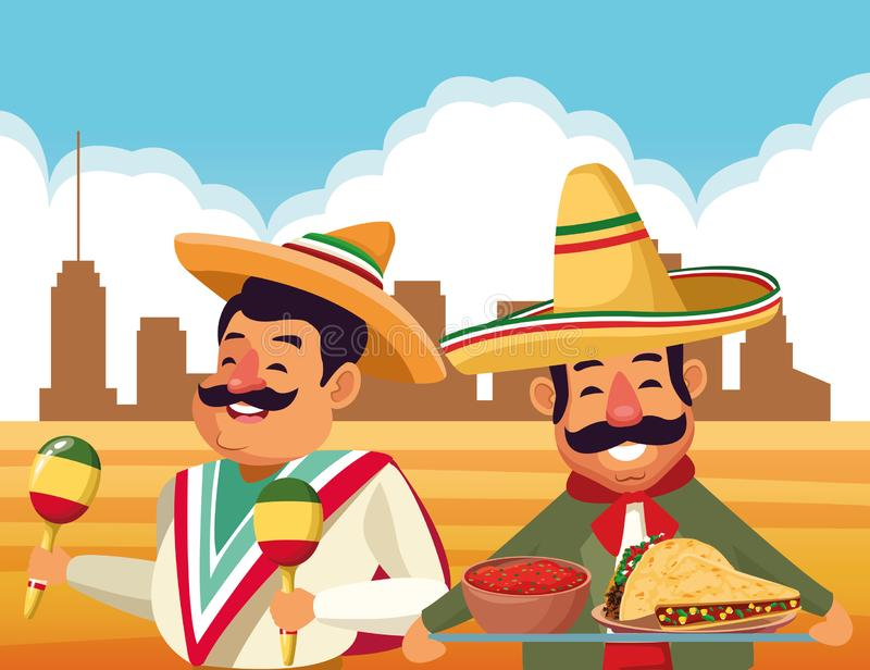 Mexican traditional culture icon cartoon vector illustration