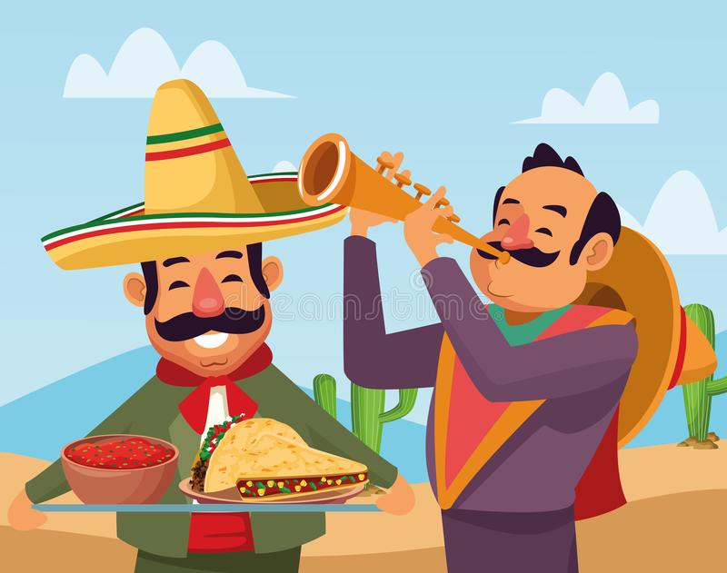 Mexican traditional culture icon cartoon stock illustration