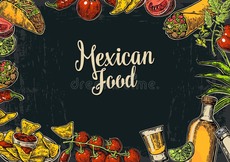 Mexican traditional food restaurant menu template with traditional spicy dish. Burrito, tacos, tomato, nachos, tequila, lime. Vector vintage engraved stock illustration