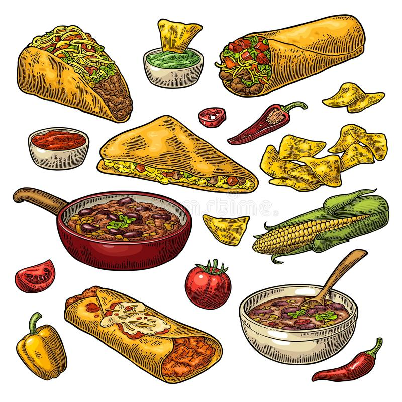 Mexican traditional food set with Guacamole, Enchilada, Burrito, Tacos, Nachos royalty free illustration