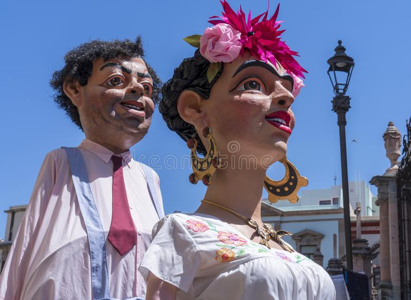 Mexican traditional Mojigangas characters, Diego Rivera y Frida Kahlo homage. stock photography
