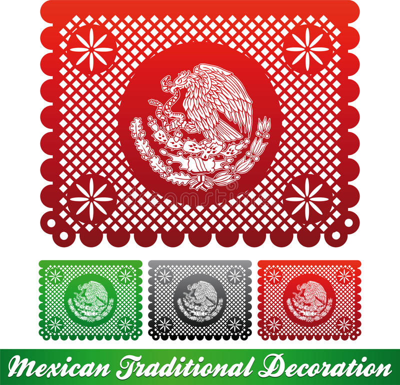 Mexican traditional patriotic decoration. Paper cut decoration, easy edit stock illustration