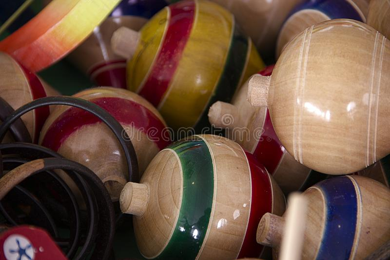 Trompos traditional mexican toys stock photography