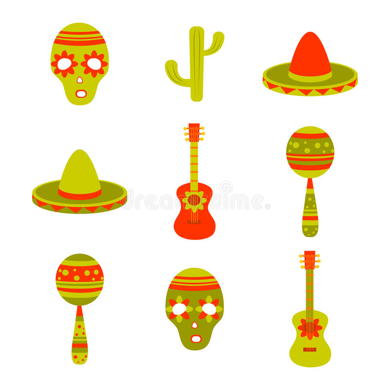 Mexican. Vector set icons of mexican symbols stock illustration