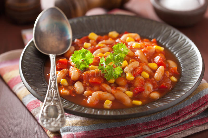 Mexican veggie chilli in plate.  royalty free stock photo