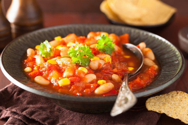 Mexican veggie chilli in plate.  stock images