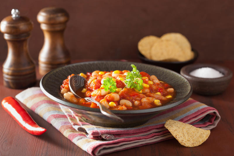 Mexican veggie chilli in plate.  royalty free stock image