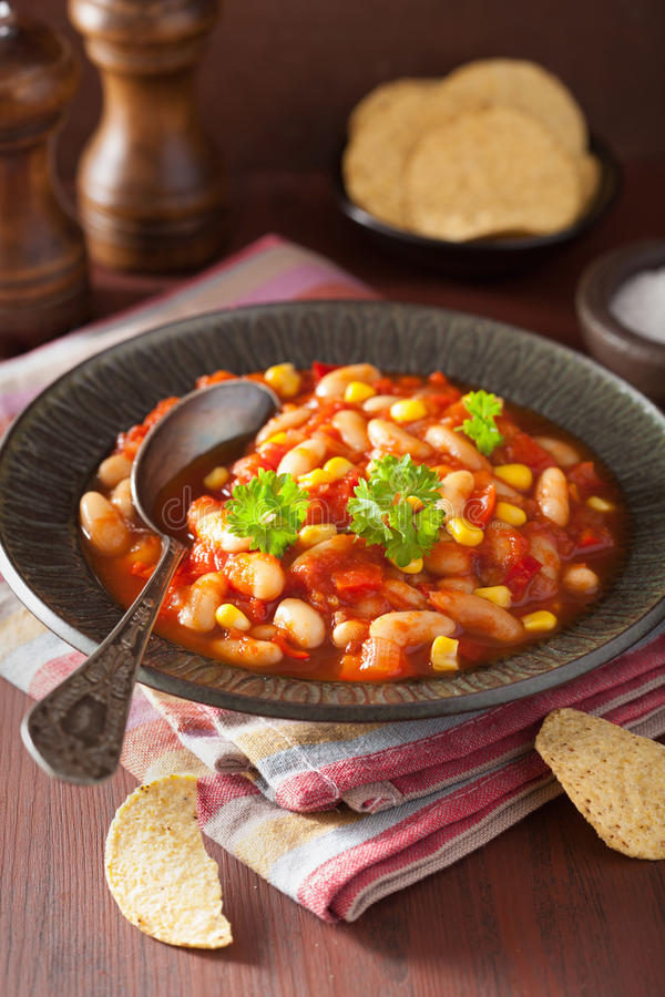 Mexican veggie chilli in plate.  royalty free stock images