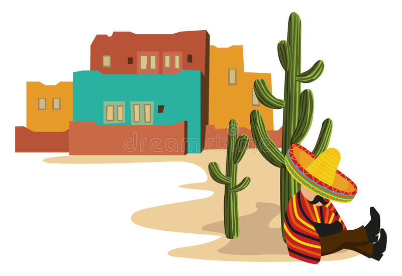 Mexican Village stock illustration