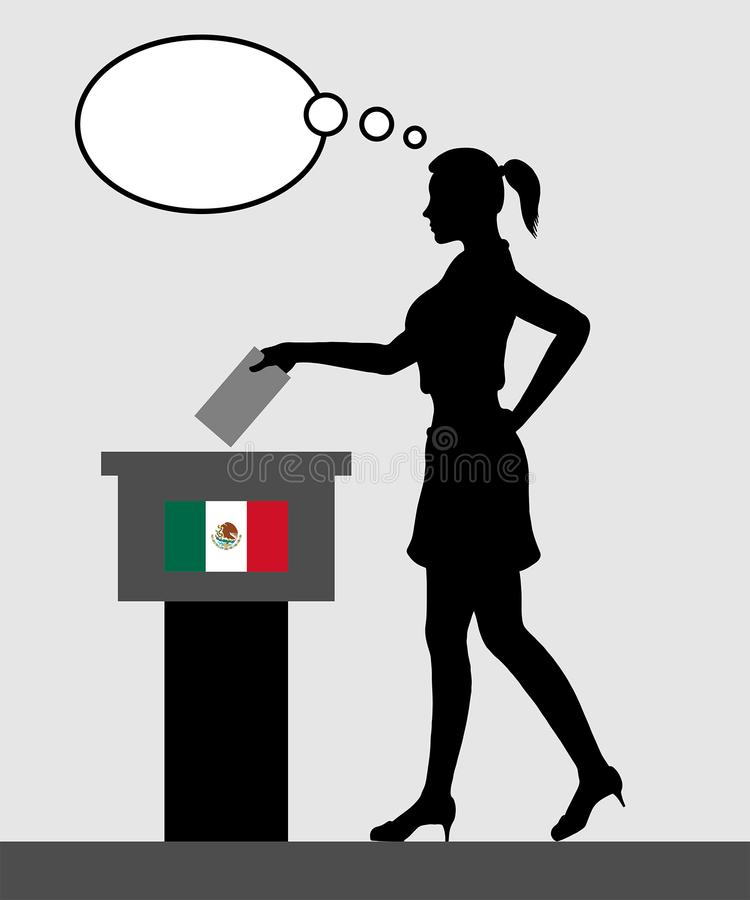 Mexican voter young woman voting for election in Mexico with tho stock illustration