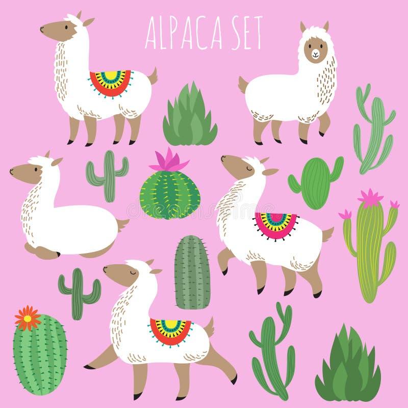 Mexican white alpaca lamas and desert plants vector set royalty free illustration