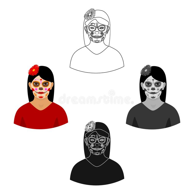 Mexican woman with calavera make up icon in cartoon,black style isolated on white background. Mexico country symbol. Vector illustration royalty free illustration