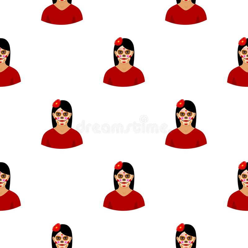 Mexican woman with calavera make up icon in cartoon style isolated on white. Mexico country pattern stock. Mexican woman with calavera make up icon in cartoon vector illustration
