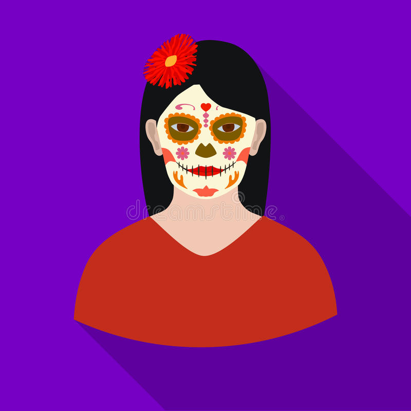 Mexican woman with calavera make up icon in flat style isolated on white background. Mexico country symbol stock vector. Mexican woman with calavera make up icon stock illustration