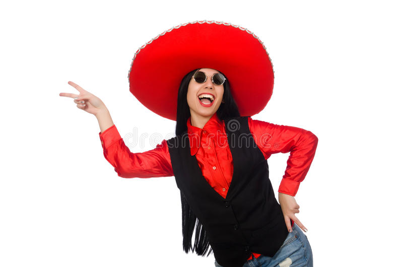 The mexican woman in funny concept on white. Mexican woman in funny concept on white royalty free stock photo