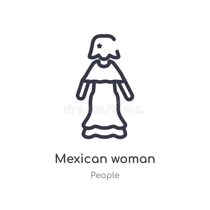 mexican woman outline icon. isolated line vector illustration from people collection. editable thin stroke mexican woman icon on royalty free illustration