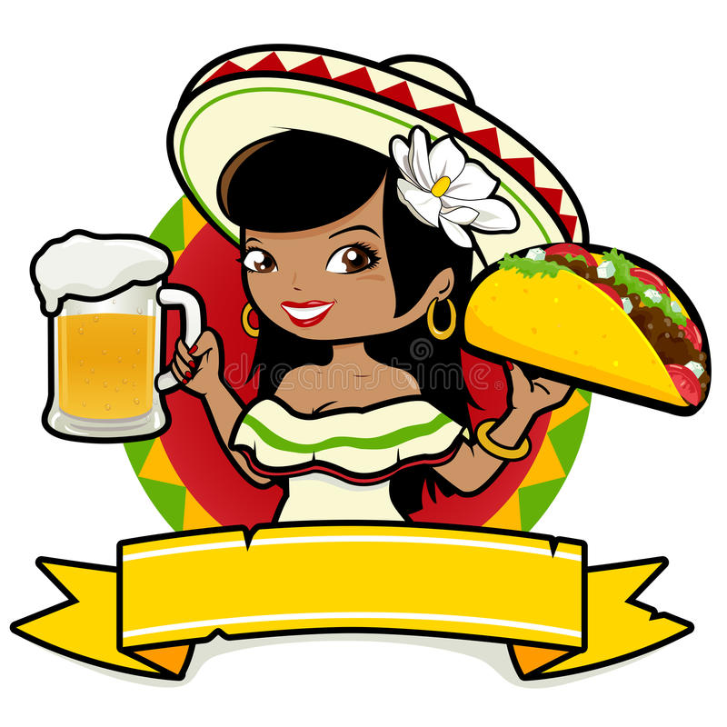 Free Mexican Woman Waitress Holding Beer And Taco Royalty Free Stock Photos - 36798278