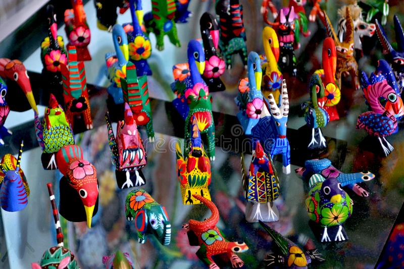 Mexican wooden animals. stock images