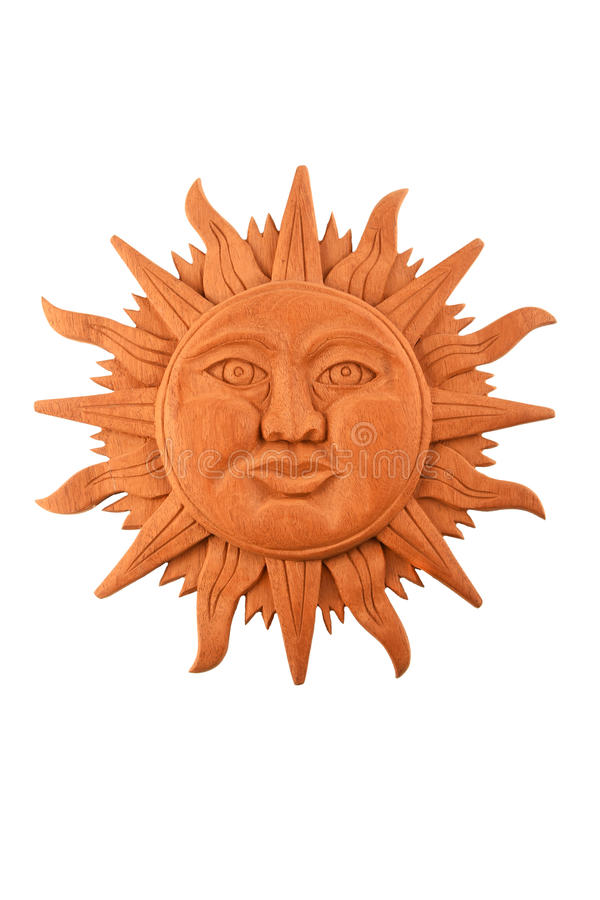 Mexican Wooden Carved Mayan Sun Symbol Plate Isolated On White Stock