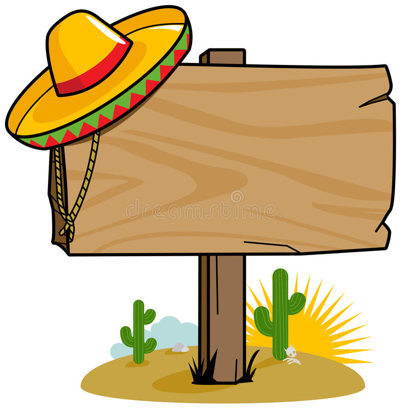 Mexican wooden signpost. Vector Illustration of a wooden signpost in the Mexican desert with cactus and a sombrero royalty free illustration