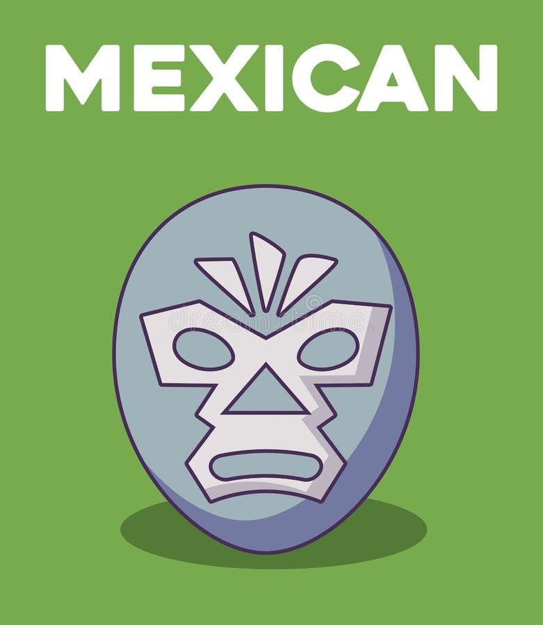 Wrestler mask icon. Mexican wrestler mask over green background, colorful design. vector illustration stock illustration