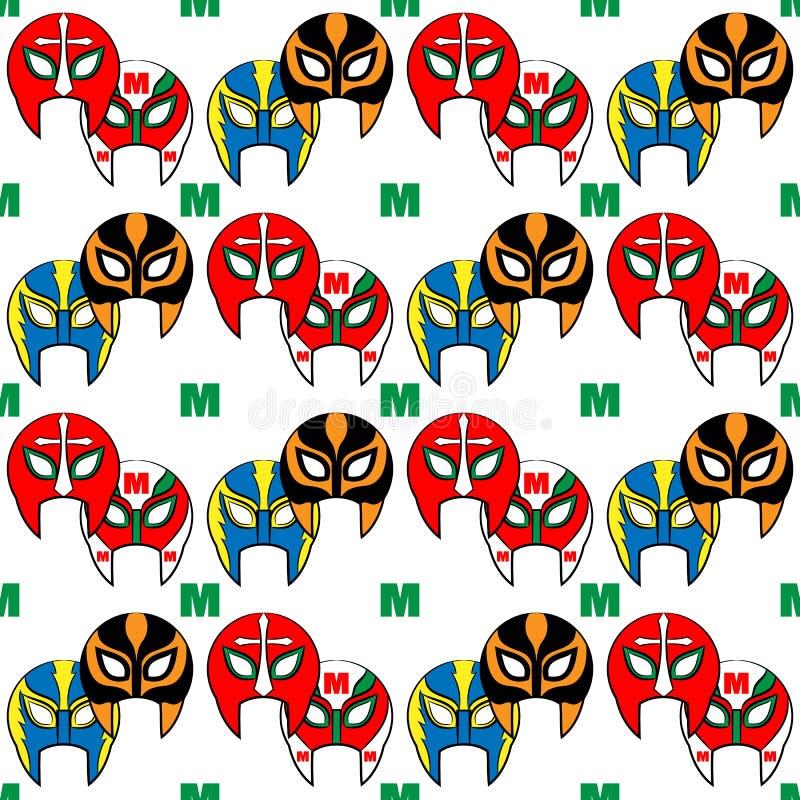 Mexican wrestler mask pattern. On background stock illustration