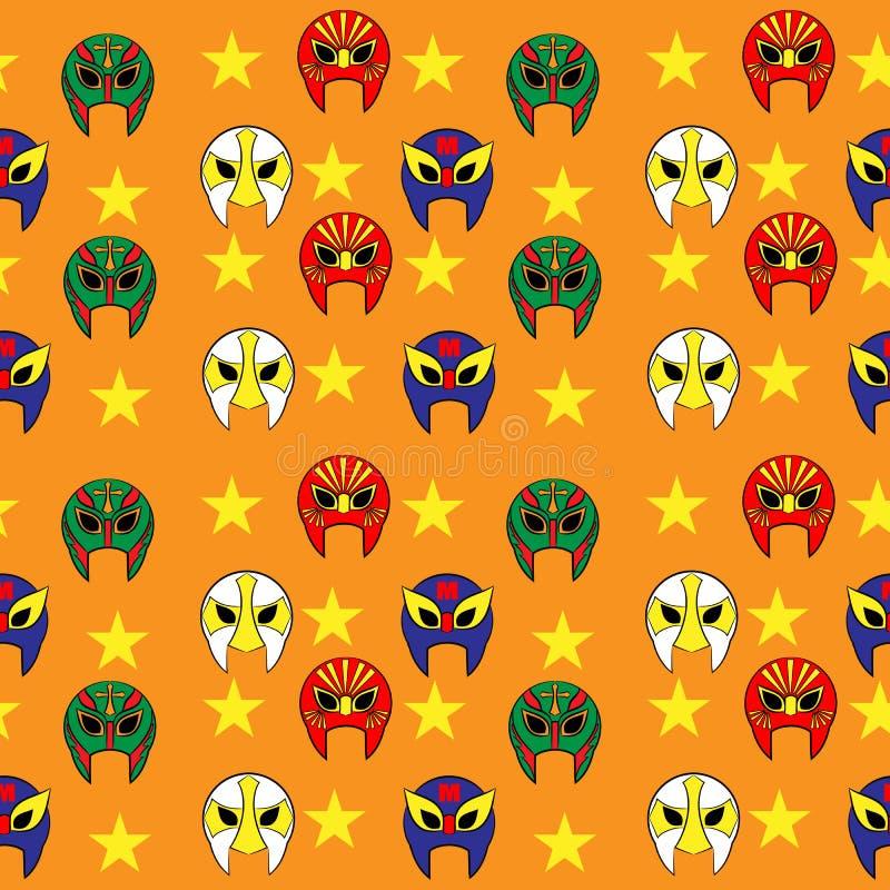 Mexican wrestler mask pattern. On orange background royalty free illustration