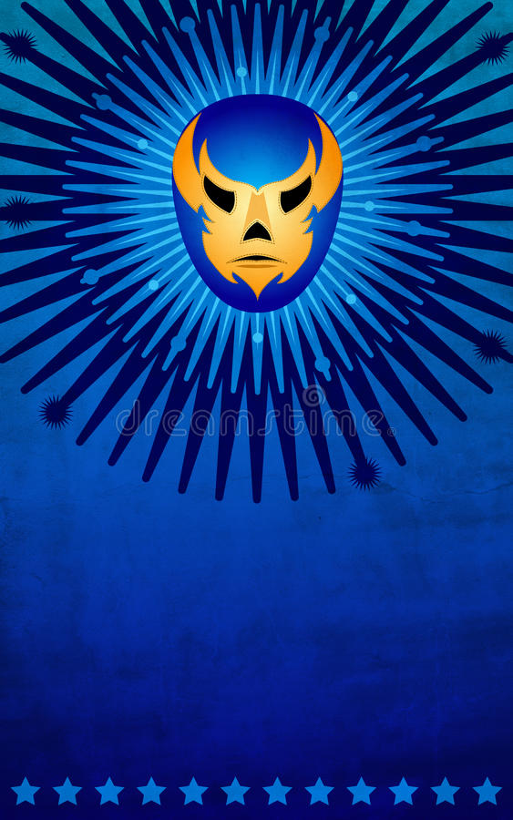Mexican wrestler mask poster - card - template. Ideal for events, advertising an print stock illustration
