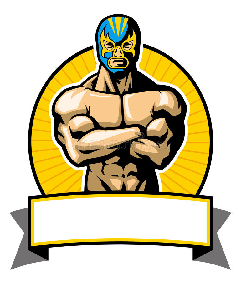 Mexican wrestler pose royalty free illustration