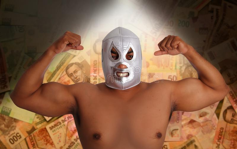 Download Mexican Wrestling Mask Silver Fighter Gesture Stock Photos - Image: 18932613